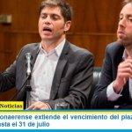 El Gobierno bonaerense extiende el vencimiento del plazo de la oferta de la deuda hasta el 31 de julio