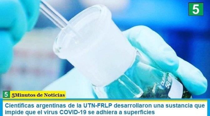 Científicas argentinas de la UTN-FRLP desarrollaron una sustancia que impide que el virus COVID-19 se adhiera a superficies