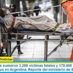 Este miércoles sumaron 3.288 las víctimas fatales y 178.996 los infectados por coronavirus en Argentina. Reporte del ministerio de Salud