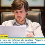 """Ministro Costa tras su informe de gestión: """"espero que haya una recuperación productiva rápida tras la pandemia"""""""