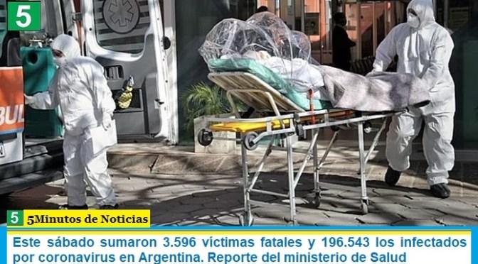 Este sábado sumaron 3.596 las víctimas fatales y 196.543 los infectados por coronavirus en Argentina. Reporte del ministerio de Salud