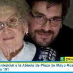 El saludo presidencial a la Abuela de Plaza de Mayo Rosa Roisinblit en su cumpleaños 101