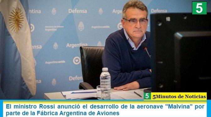 """El ministro Rossi anunció el desarrollo de la aeronave """"Malvina"""" por parte de la Fábrica Argentina de Aviones"""
