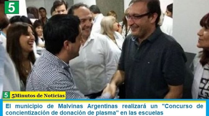 El municipio de Malvinas Argentinas realizará un «Concurso de concientización de donación de plasma» en las escuelas