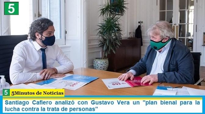 """Santiago Cafiero analizó con Gustavo Vera un """"plan bienal para la lucha contra la trata de personas"""""""