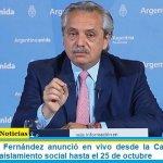 El Presidente Fernández anunció en vivo desde la Casa Rosada la extensión del aislamiento social hasta el 25 de octubre