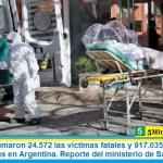Este martes sumaron 24.572 las víctimas fatales y 917.035 los infectados por coronavirus en Argentina. Reporte del ministerio de Salud