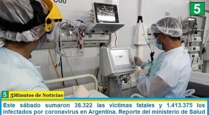Este sábado sumaron 38.322 las víctimas fatales y 1.413.375 los infectados por coronavirus en Argentina. Reporte del ministerio de Salud