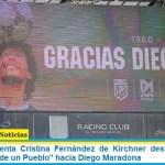 """La vicepresidenta Cristina Fernández de Kirchner destacó el """"amor incondicional de un Pueblo"""" hacia Diego Maradona"""