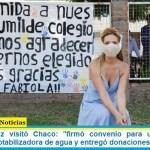 Fabiola Yañez visitó Chaco: «firmó convenio para una planta de tratamiento potabilizadora de agua y entregó donaciones»