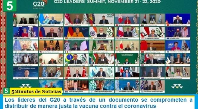Los líderes del G20 a través de un documento se comprometen a distribuir de manera justa la vacuna contra el coronavirus