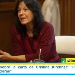 "Vilma Ibarra sobre la carta de Cristina Kirchner: ""un aporte con visiones muy claras"""