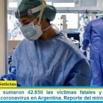 Este domingo sumaron 42.650 las víctimas fatales y 1.583.927 los infectados por coronavirus en Argentina. Reporte del ministerio de Salud