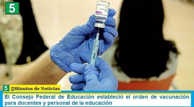 El Consejo Federal de Educación estableció el orden de vacunación para docentes y personal de la educación