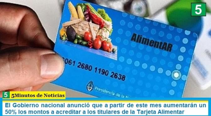El Gobierno nacional anunció que a partir de este mes aumentarán un 50% los montos a acreditar a los titulares de la Tarjeta Alimentar