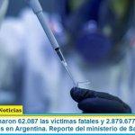 Este lunes sumaron 62.087 las víctimas fatales y 2.879.677 los infectados por coronavirus en Argentina. Reporte del ministerio de Salud