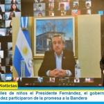 En Merlo con miles de niños el Presidente Fernández, el gobernador Kicillof y el intendente Menéndez participaron de la promesa a la Bandera