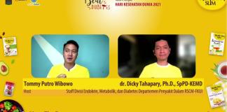 Staff Divisi Endokrin, Metabolik, dan Diabetes, Departemen Penyakit Dalam RSCM-FKUI dr. Dicky Tahapary saat berbicara dalam rangkaian acara Beat Diabetes Online Festival 2021, Meet The Expert di kanal Facebook Tropicana Slim, Rabu (7/4/2021).