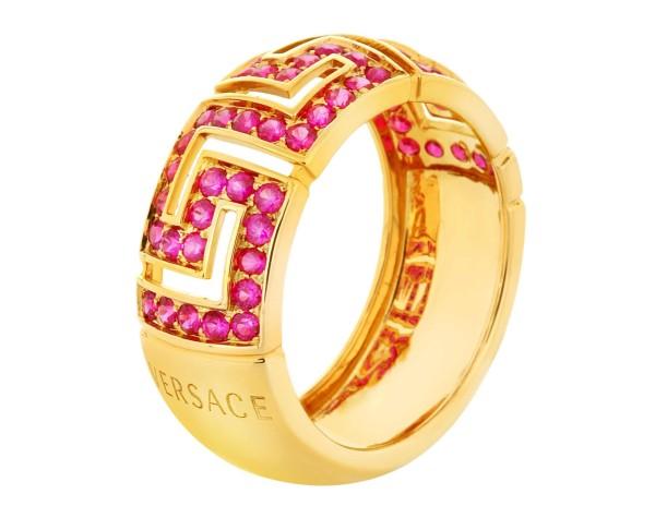 Versace Greca Red Rubies ring