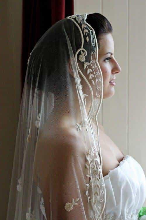 Bespoke Embroidered Silk Wedding Veil