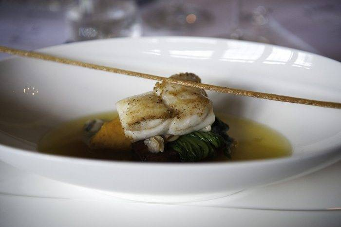 Fillet of turbot Dingly Dell pork belly, palourde clam, carrot
