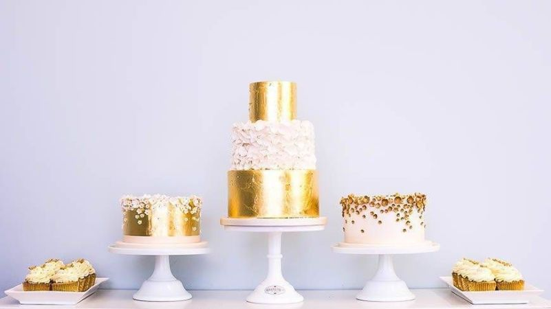 gold leaf and ruffles dessert table