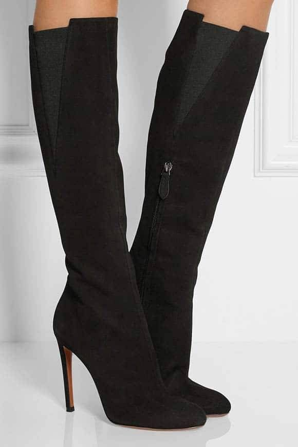 Suede stiletto knee-high boots from Alaïa