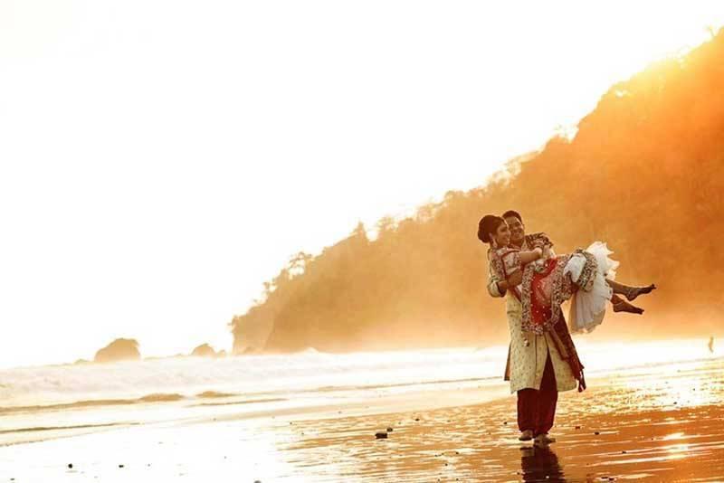 Asian Tropical Wedding - Couple on the beach
