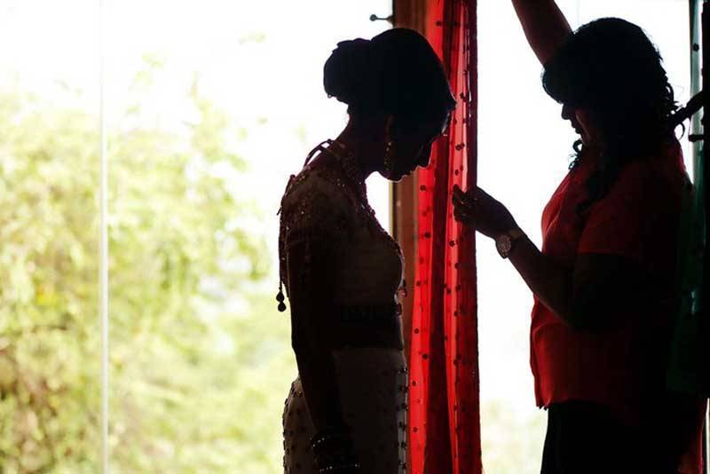 Indian Bride Getting Ready silhouette