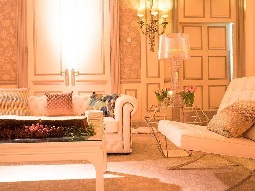 The sitting room At Home with Bruce Russell at The Savoy