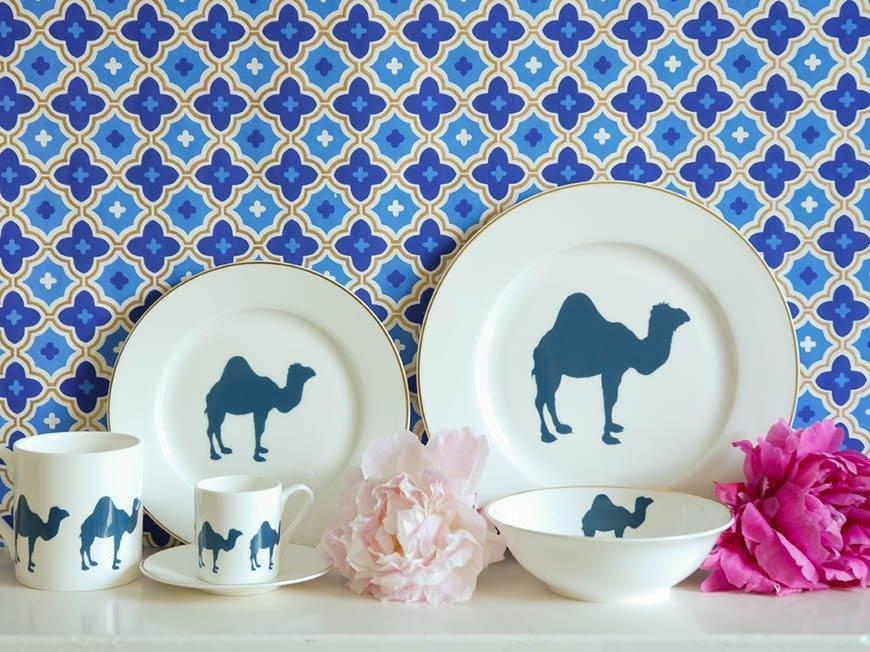 Blue and White Camel China Set
