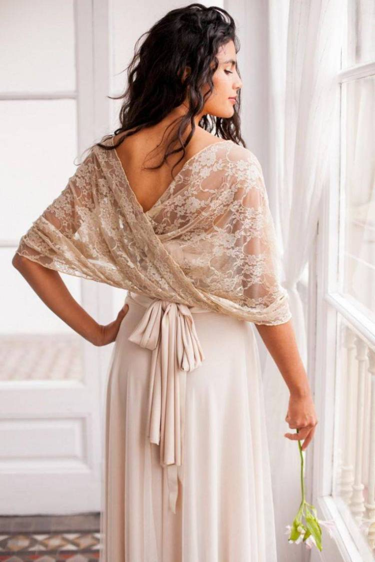 Add a luxurious nude wrap for a touch of elegance
