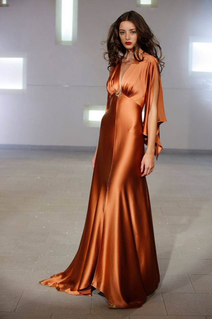 Dazzle in bronze - perfect for an evening celebration Gown: Marc Bouwer Couture