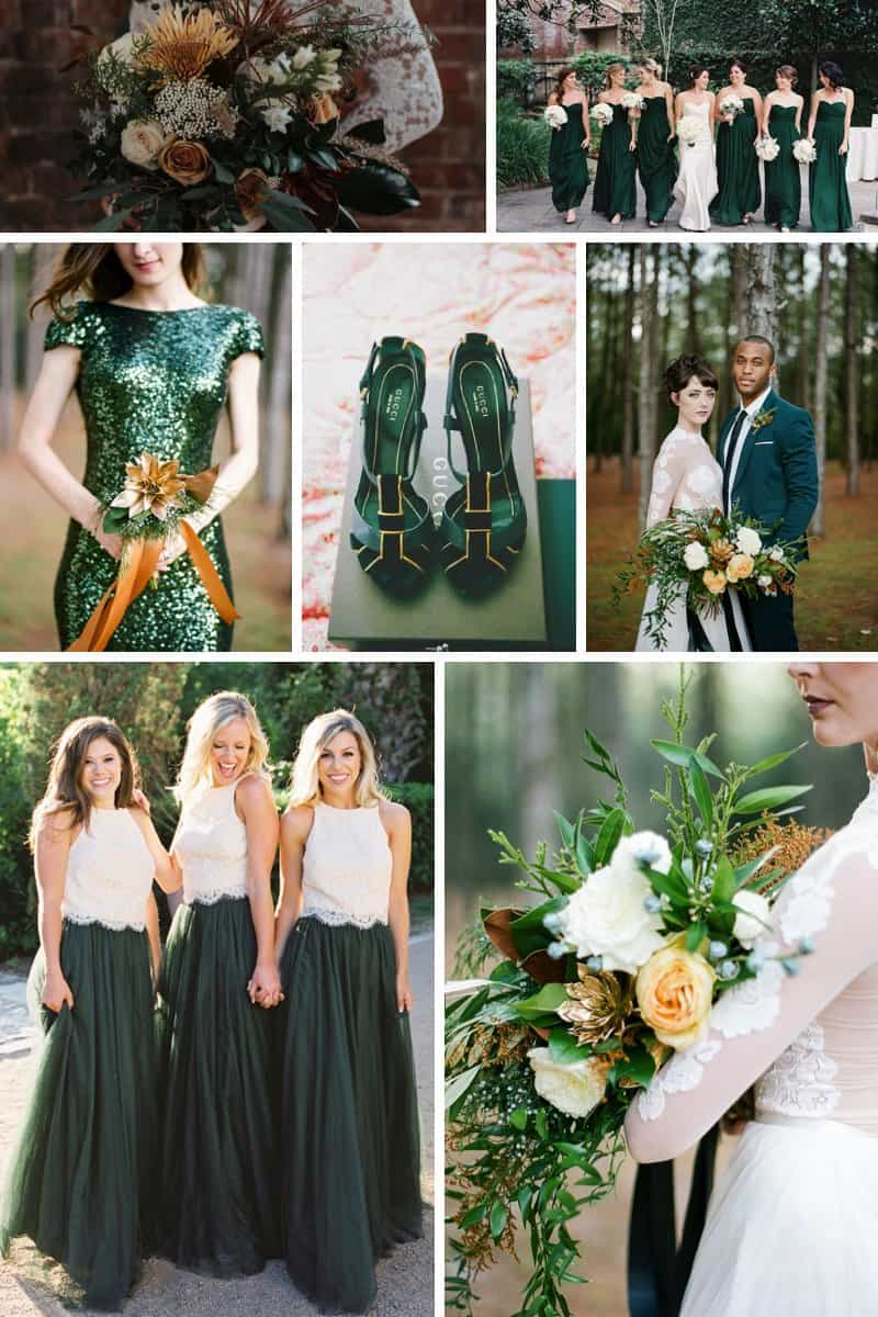Colour palette: Forest green and gold