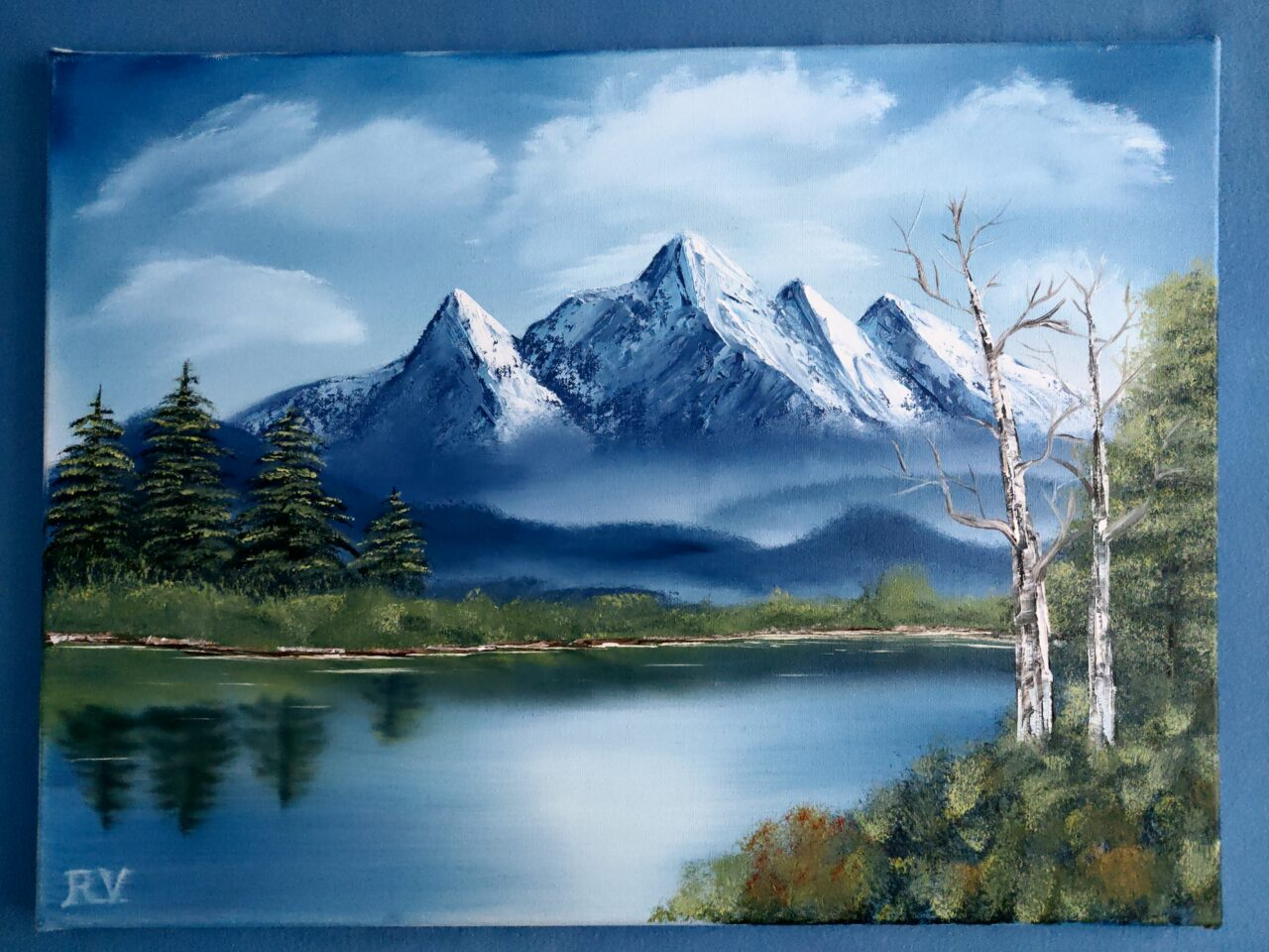 Berglandschaft Mit Fluss Painting By Keep Magic Artmajeur