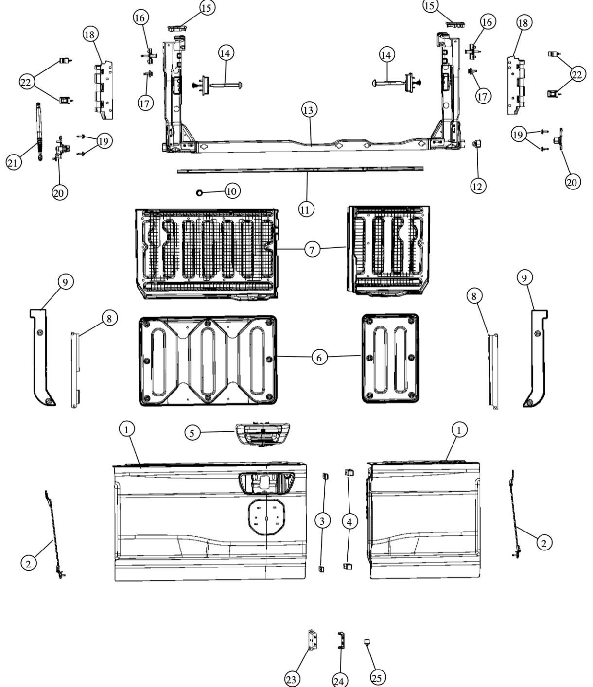 Ram 1500 Multifunction Tailgate Detailed In Parts Diagram