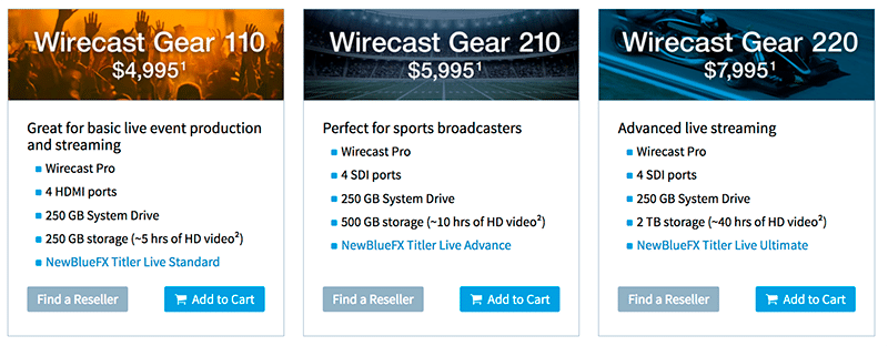 Wirecast Gear Pricing
