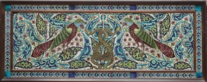 De Morgan - Parot and Snake tile panel. Courtesy of The Fine Art Society London