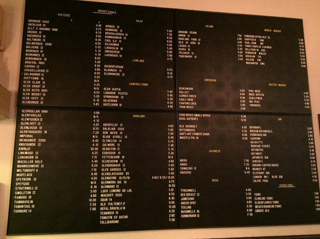 The whiskey menu at The Grey Horse, Kingston upon Thames