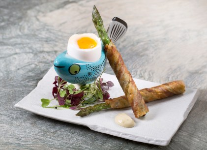 John Carey Asparagus Soldiers Bacon & Soft Boiled Egg