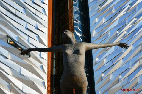 The Titanic museum statue