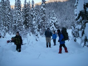 Okay boys, this is going to be your home for the night. Let's stomp down all this powder snow and get your tents up.