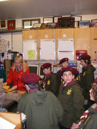 Wide eyed wonderment. The Scouts are surrounded by the tools and trophies of one of the greatest mountain search and rescue teams in the world!
