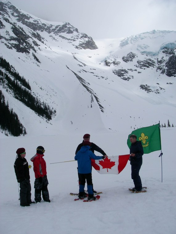 Getting ready to do Scouter Alan's investiture under the glacier.
