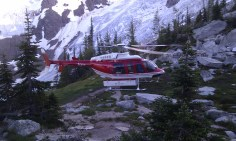 Unfotrunately, one of our team collapsed with crippling abdominal pains just before dinner on Friday (after suffering stomach flu-like symptoms for 24 hours). Luckily we were able to have the B.C. Ambulance Service medivac her out to the hospital in Golden.