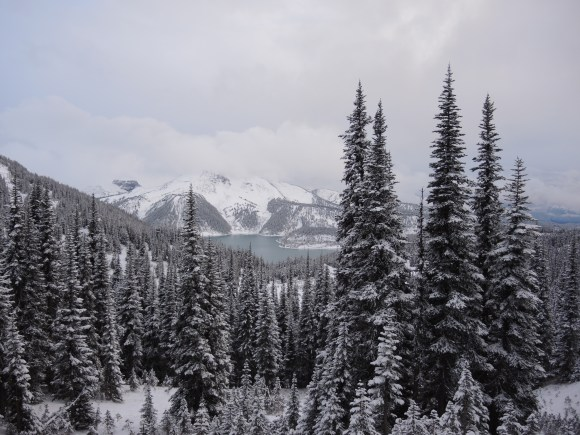 As we head back to base camp we get a good view of a wintery Garibaldi Lake.