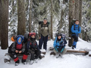 These are some seriously tough Scouts! Ages 11, 12 and 13. Here they are (along with Scouter Alan) taking a brief rest as they descend back down the mountain 7.5 kms. (3,500 ft. elevation change) Sunday morning with overflowing packs after a sub-zero weekend. In all, they logged over 25 kms. in the mountains in seriously difficult conditions. Unfortunately, due to those conditions, none of them got to bust out their ice axes and crampons and have a go at the glacier. Oh well, next time... I couldn't be prouder of these young guys!
