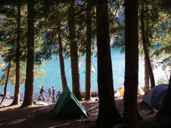 With their tents and kitchens setup, the Scouts get a little free time by the lake before dinner.