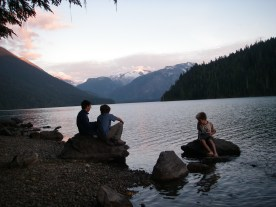Dinner by the lake as the sun starts to go down over Garibaldi Park.