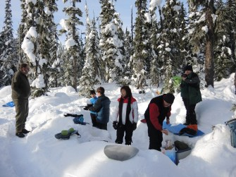 This is the first time these Scout leaders ever made breakfast in a kitchen that they carved themselves from snow (with help from the Mountaineer Scouts).